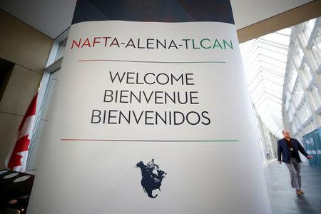 A sign is pictured where the third round of NAFTA talks is taking place in Ottawa