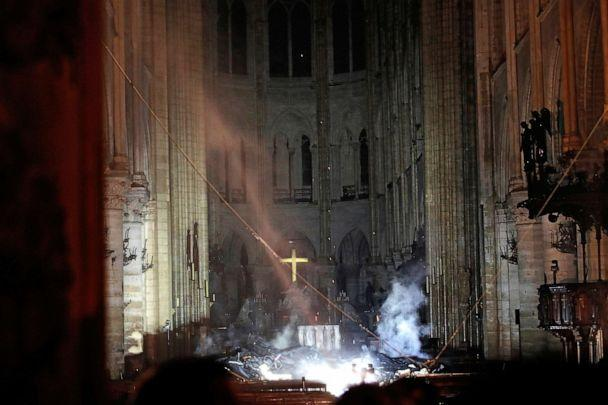 PHOTO: Smoke is seen in the interior of Notre Dame cathedral in Paris, April 15, 2019. (Philippe Wojazer/AP)