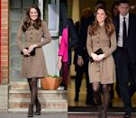 <p>The Duchess of Cambridge wore this brown patterned Orla Kiely fit-and-flare dress with brown tights and brown suede boots in February 2012 and then donned the exact same look a year later in November 2013 in a visit to Only Connect. </p>