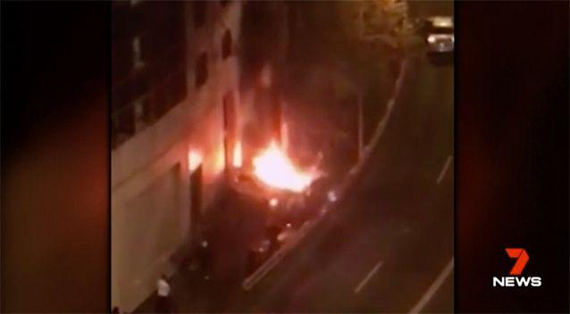 The car exploded into a fire ball. Source: 7 News