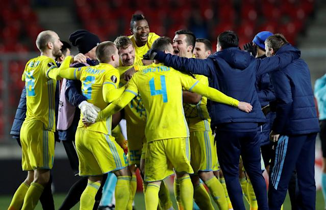 Soccer Football - Europa League - Slavia Prague vs Astana - Eden Arena, Prague, Czech Republic - December 7, 2017 Astana players celebrate after the match REUTERS/David W Cerny