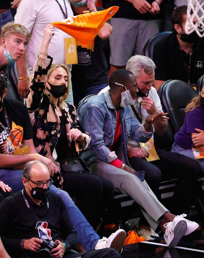 PHOENIX, ARIZONA – JULY 17: Singer Adele attends game five of the NBA Finals at Footprint Center on July 17, 2021 in Phoenix, Arizona. The Bucks defeated the Suns 123-119. NOTE TO USER: User expressly acknowledges and agrees that, by downloading and or using this photograph, User is consenting to the terms and conditions of the Getty Images License Agreement. (Photo by Christian Petersen/Getty Images)