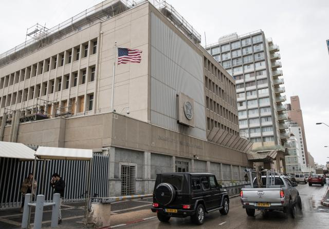 <p>A picture shows the exterior of the U.S. Embassy in Tel Aviv on Dec. 6, 2017. (Photo: Jack Guez/AFP/Getty Images) </p>