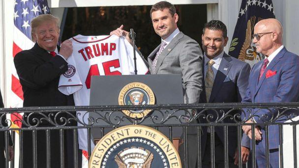 PHOTO: President Donald Trump holds up a Washington Nationals jersey given to him by Nationals first baseman Ryan Zimmerman during a celebration in honor of the team's victory in the 2019 World Series at the White House, Nov. 4, 2019. (Jonathan Ernst/Reuters)