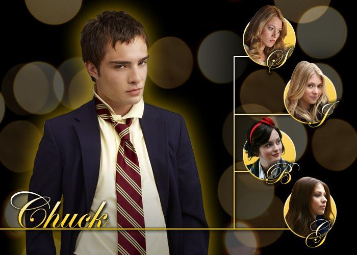 He's Chuck Bass. Need I say more? A self-proclaimed playboy, it's no surprise that C has swapped spit with Georgina, Jenny, Serena and Blair. Since losing his virginity to G in 6th grade (no details please!), C will latch onto anything in his field of vision. He's the Patron Saint of all that is sleazy and arrogant. C took a stab at seducing a guilt-ridden S after her surprise return to New York, but was quickly shoved away. Then his failed attempt to date-rape freshman J at the Kiss on the Lips party earned him a shiny black eye. A couple of rejections can't keep a bad boy down, but can a broken heart? After getting hot and heavy with B in the back of a limo, C began to have genuine feelings for her… butterflies even. C and B's secretive tryst was short-lived when B quickly abandoned him the minute N came beckoning. Can the so-called ladies man's broken heart be mended? Will sparks fly again for C and B?