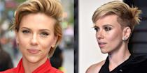 <p>Scarlett debuted an *even shorter* chop after her divorce from Romain Dauriac. We're talking shaved sides and long on top. So edgy.</p>