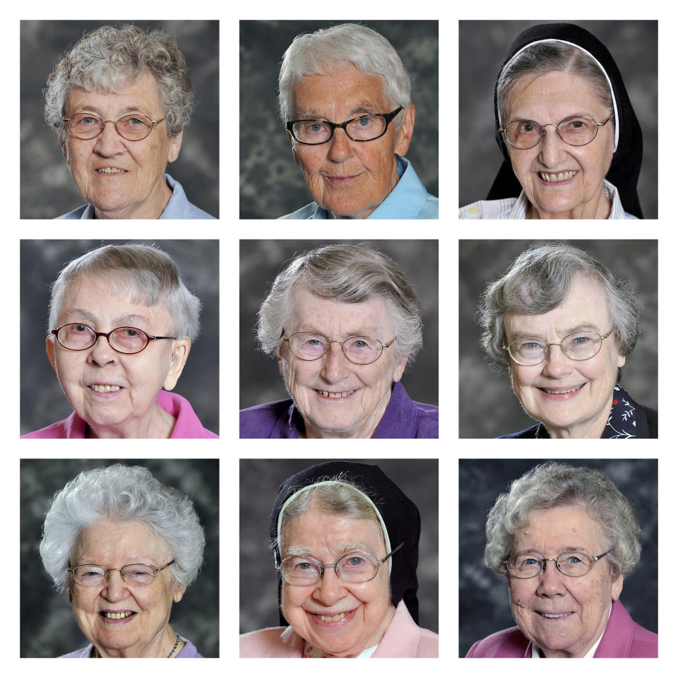 This combination of photos provided by the School Sisters of Notre Dame Central Pacific Province shows Sisters, top row from left, Cynthia Borman, Rose M Feess, and Joan Emily Kaul; middle row from left, Mary Lillia Langreck, Michael Marie Laux, and Ellen Lorenz; and bottom row from left, Dorothy MacIntyre, Mary Alexius Portz, and Mary Elva Wiesner in Elm Grove, Wis. All nine died from COVID-related complications in December 2020. (School Sisters of Notre Dame Central Pacific Province via AP)