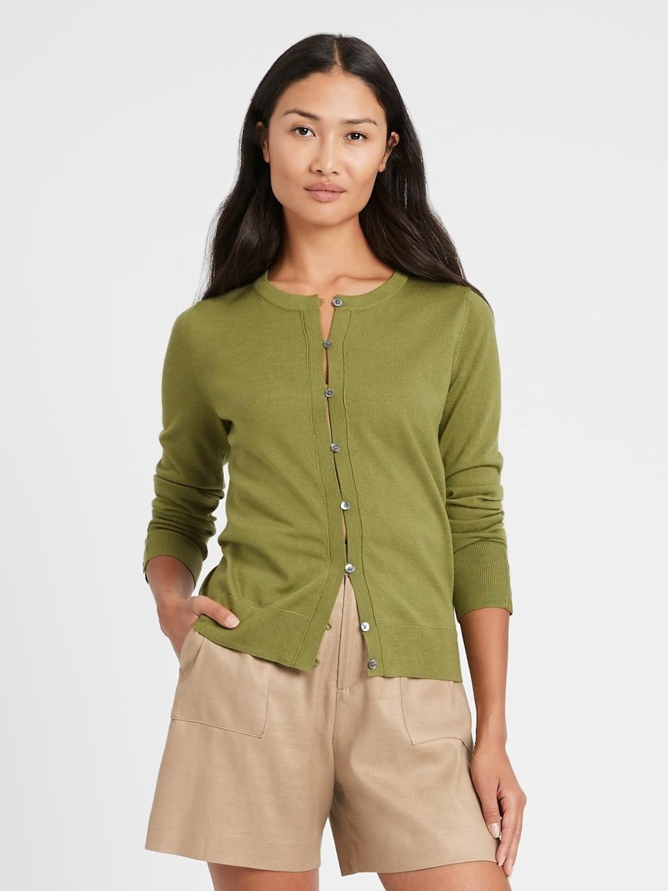 <p>Pair this <span>Merino Cardigan Sweater</span> ($63, originally $80) with leather jeans for a sophisticated look.</p>