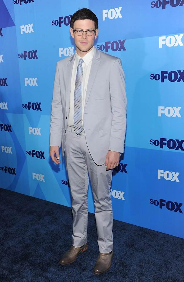 """Cory Monteith, who plays Finn Hudson on Fox's campy musical series """"Glee,"""" showed off his serious side in a pair of glasses and a gray suit. Dimitrios Kambouris/<a href=""""http://www.gettyimages.com/"""" target=""""new"""">GettyImages.com</a> - May 16, 2011"""