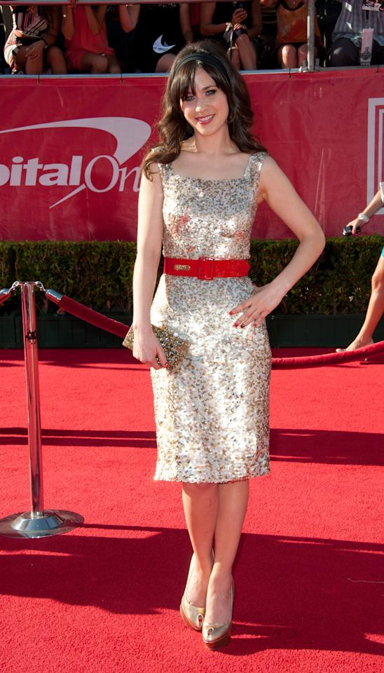 LOS ANGELES, CA - JULY 11:  Actress Zooey Deschanel arrives at the 2012 ESPY Awards at Nokia Theatre L.A. Live on July 11, 2012 in Los Angeles, California.  (Photo by Allen Berezovsky/Getty Images)