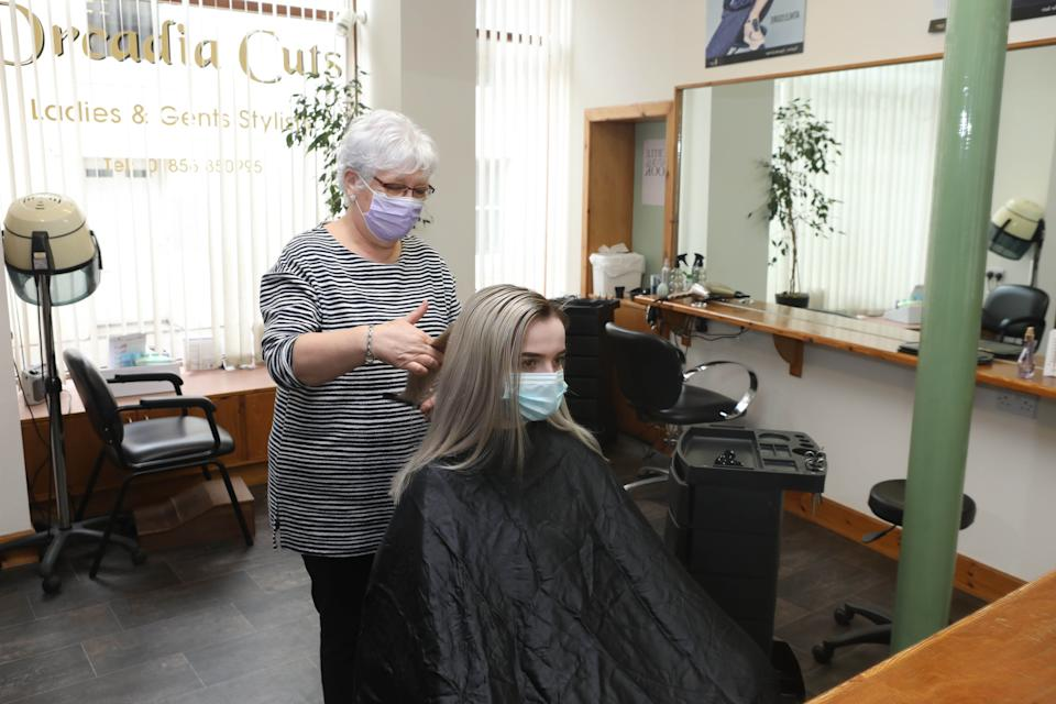 Sandra Moar, owner of Orcadia Cuts in Stromness, told Yahoo UK: 'We've had some folk in who havn't had their hair cut for a whole year.' (Ken Amer/Orkney Photographic for Yahoo UK)