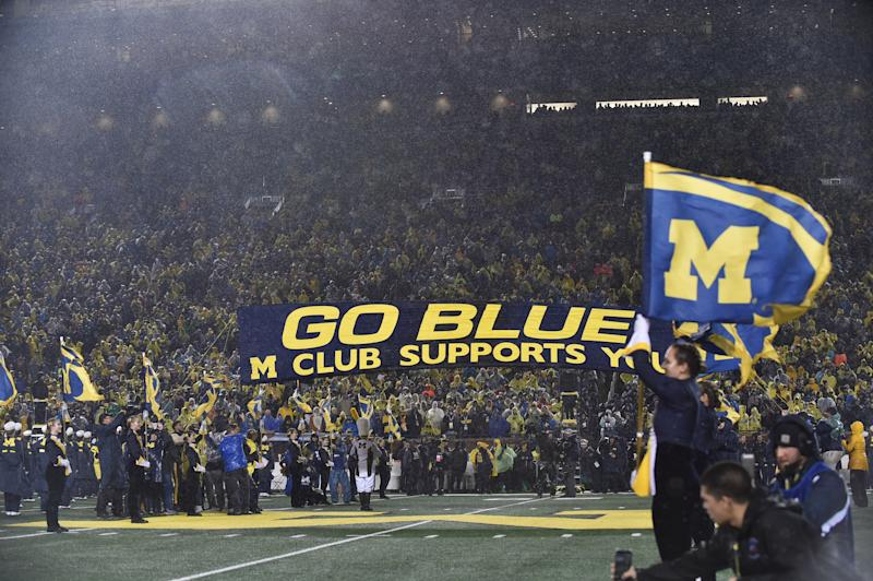 ANN ARBOR, MICHIGAN - OCTOBER 26: General view of fans during a college football game between the Michigan Wolverines and the Notre Dame Fighting Irish at Michigan Stadium on October 26, 2019 in Ann Arbor, Michigan. (Photo by Aaron J. Thornton/Getty Images)