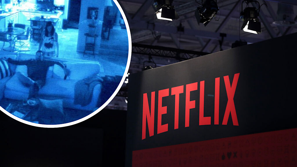 Pictured: Netflix logo, scene from Paranormal Activity 2. Images: Getty, Paramount Pictures