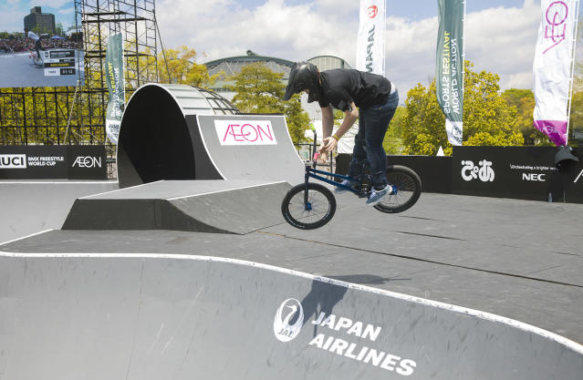 This April 2018 photo provided by USA Cycling shows Hannah Roberts competing at the UCI Freestyle BMX World Cup in Hiroshima, Japan. The next potential star for USA Cycling in the Summer Games is getting ready for her senior year of high school. Theres an opportunity to grow pretty significantly with Hannahs ability, said USA Cycling president Derek Bouchard-Hall, so were optimistic. (Kyle Carlson/USA Cycling via AP)