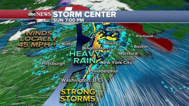 PHOTO: As the cold front moves eastward it could bring a round of gusty winds and heavy rain to parts of the Northeast, especially later in the afternoon.  (ABC News)