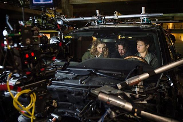 Lily James, Edgar Wright, and Ansel Elgort on the set of 'Baby Driver' (Sony)