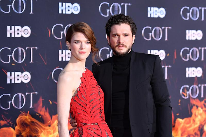 "Scottish actress Rose Leslie and husband British actor Kit Harington arrive for the ""Game of Thrones"" eighth and final season premiere at Radio City Music Hall on April 3, 2019 in New York city. (Photo by Angela Weiss / AFP) (Photo credit should read ANGELA WEISS/AFP via Getty Images)"