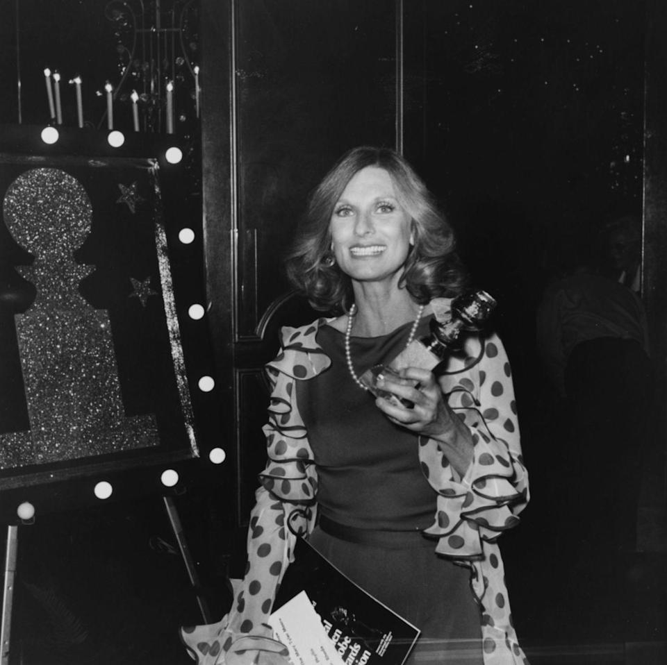 <p>The Actress from <em>Phyllis </em>(look it up) made a statement with fun ruffled polkadot sleeves during the 1976 Golden Globes awards. </p>