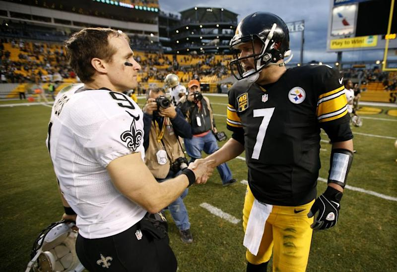 Drew Brees, left, and Ben Roethlisberger.