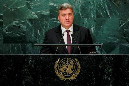 Macedonian President Gjorge Ivanov addresses the United Nations General Assembly in the Manhattan borough of New York, U.S., September 22, 2016.  REUTERS/Eduardo Munoz