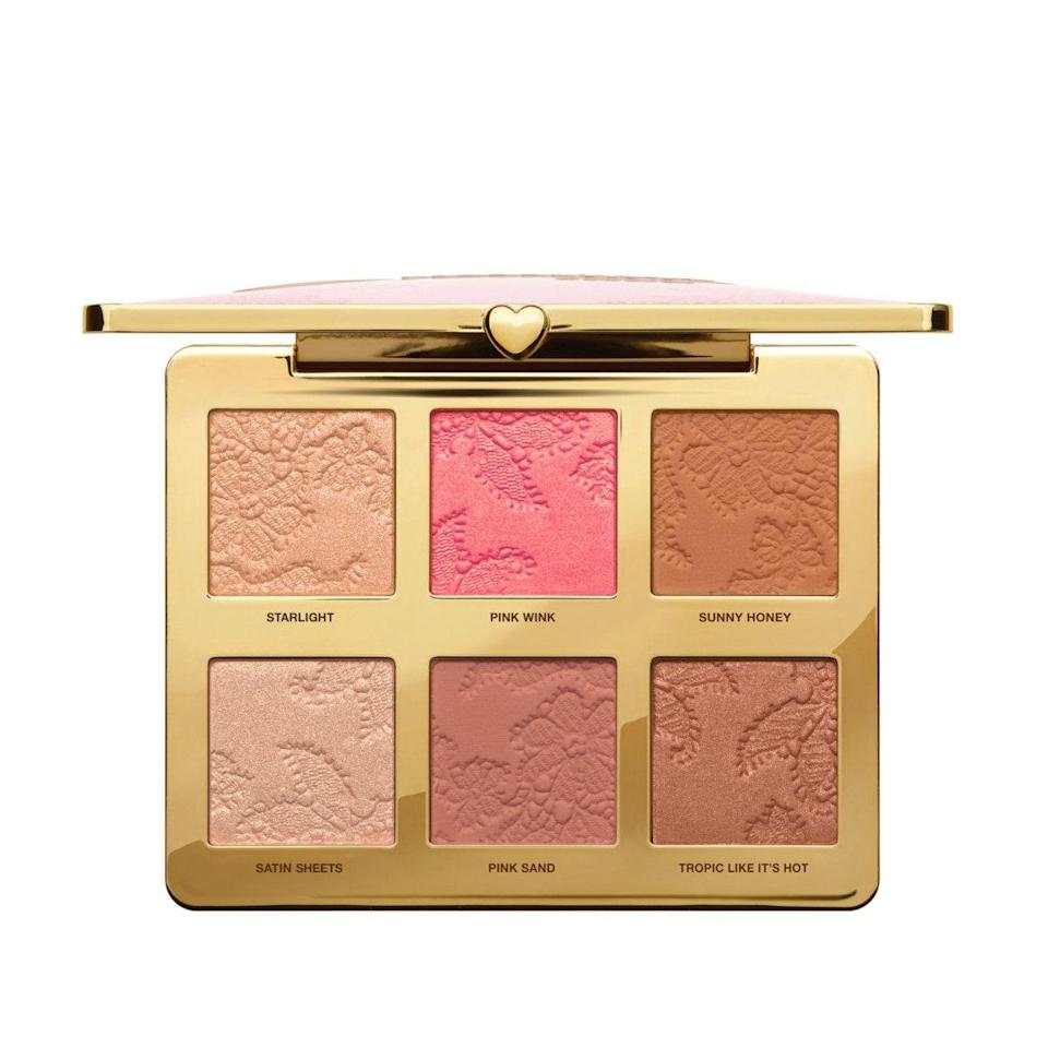 """Do your entire face in one place with this pretty palette from Too Faced. The mix of highlighters, blushes, bronzers, and finishing powders are perfect for creating any look, no matter how subtle or dramatic. Too Faced's powders are some of the best out there, and the packaging is so pretty you'll want to display it on your vanity. $44, Ulta. <a href=""""https://shop-links.co/1716509666948345032"""" rel=""""nofollow noopener"""" target=""""_blank"""" data-ylk=""""slk:Get it now!"""" class=""""link rapid-noclick-resp"""">Get it now!</a>"""