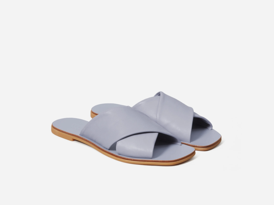 The Day Crossover Sandal in Light Blue.