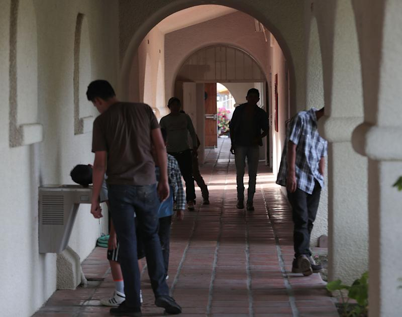 Asylum seekers from Guatemala are being housed temporarily at Our Lady of Soledad Church in Coachella, April 8, 2019.