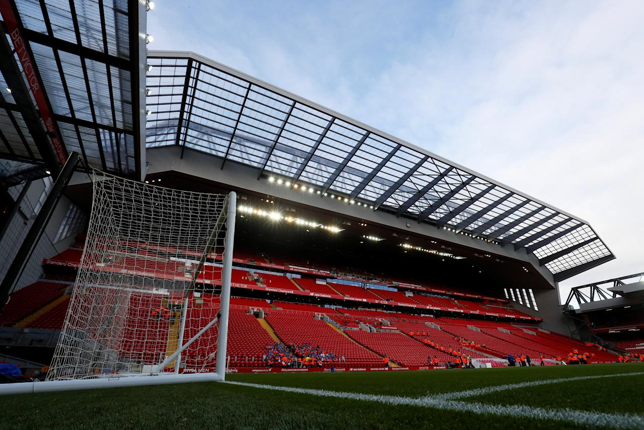 "Soccer Football - Premier League - Liverpool vs Southampton - Anfield, Liverpool, Britain - November 18, 2017  General view inside the stadium before the match  Action Images via Reuters/Jason Cairnduff  EDITORIAL USE ONLY. No use with unauthorized audio, video, data, fixture lists, club/league logos or ""live"" services. Online in-match use limited to 75 images, no video emulation. No use in betting, games or single club/league/player publications. Please contact your account representative for further details."