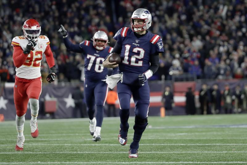 New England Patriots quarterback Tom Brady runs for yardage in the fourth quarter of an NFL football game against the Kansas City Chiefs, Sunday, Dec. 8, 2019, in Foxborough, Mass. (AP Photo/Elise Amendola)