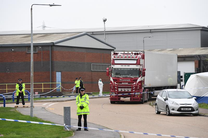 Police activity at the Waterglade Industrial Park in Grays, Essex, after 39 bodies were found inside a lorry on the industrial estate. PA Photo. Picture date: Wednesday October 23, 2019. Early indications suggest there 38 are adults and one teenager, police said. The lorry is from Bulgaria and entered the country at Holyhead, North Wales, one of the main port for ferries from Ireland. See PA story POLICE Container. Photo credit should read: Stefan Rousseau/PA Wire