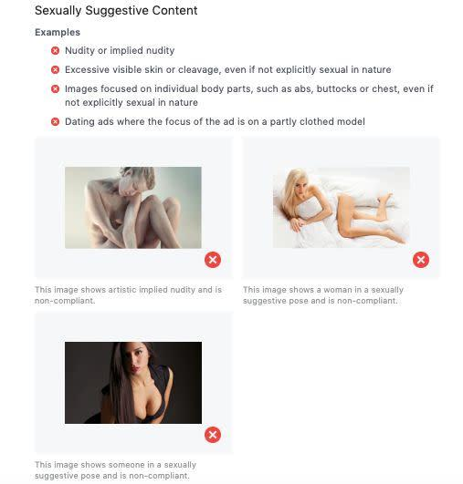 """Facebook's ad policies may offer some insight into what Instagram considers to be """"sexually suggestive"""" content. (Photo: Facebook)"""