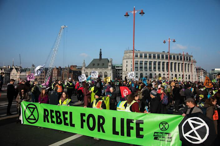 Thousands of Extinction Rebellion activists took over 5 bridges in Central London and blocked them for the day, November 17 2018, Central London, United Kingdom. The actvists believe that the government is not doing enough to avoid catastrophic climate change and they demand the government take radical action to save future generations and the planet. | Kristian Buus—In Pictures via Getty Images
