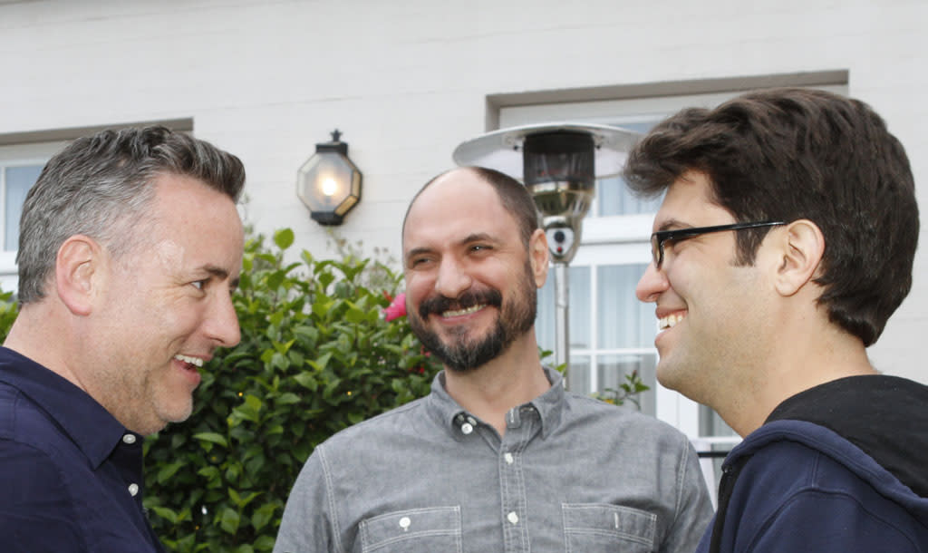 """Larry Murphy, Creator and Executive Producer Loren Bouchard and Dan Mintz attend """"Bob's Burgers Live!"""" at the WIlshire Ebell Theatre on Tuesday, May 7 in Los Angeles, CA."""
