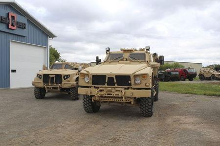 Oshkosh JLTV military vehicles are shown in Oshkosh, Wisconsin in this picture taken on August 19, 2015 and released to Reuters on August 23, 2015. REUTERS/Oshkosh Corporation/Handout via Reuters