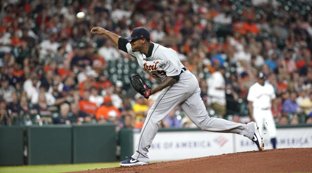 Detroit Tigers starting pitcher Edwin Jackson throws against the Houston Astros during the first inning of a baseball game Monday, Aug. 19, 2019, in Houston. (AP Photo/David J. Phillip)