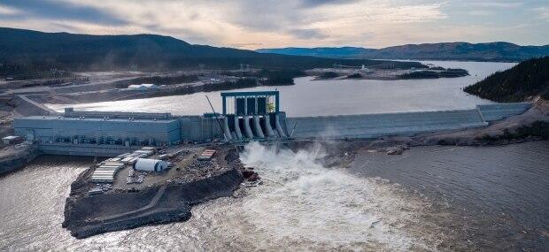 The Muskrat Falls powerhouse, spillway and north dam, seen here in 2020, will be fully operational by the fall, Marshall says.