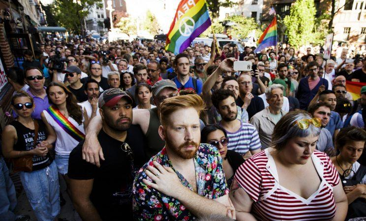 A vigil for the victims of the Orlando shooting outside the Stonewall Inn in New York City. (Photo: EPA/Justin Lane)