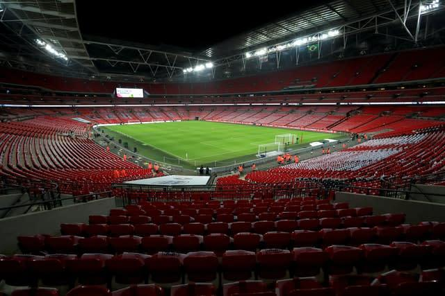 The League Two play-off final will be held without a crowd at Wembley due to the ongoing coronavirus pandemic (Mike Egerton/PA)