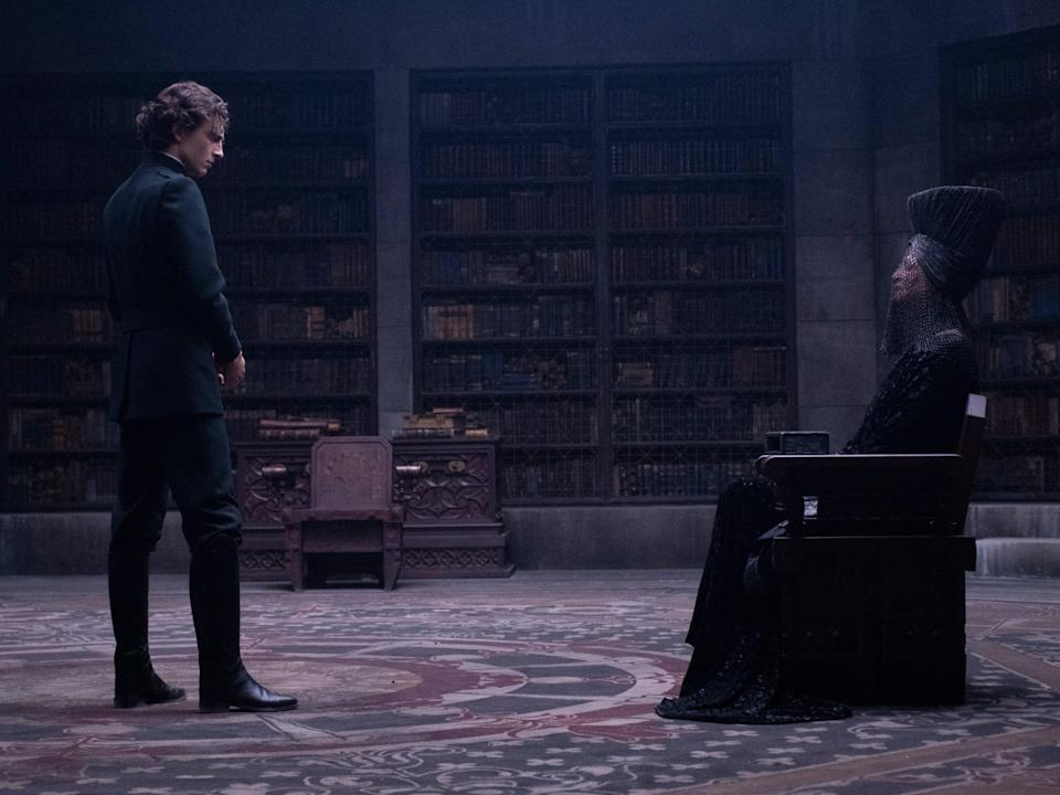 """Timothée Chalamet as Paul and Charlotte Rampling as the Reverend Mother Mohiam in """"Dune."""""""