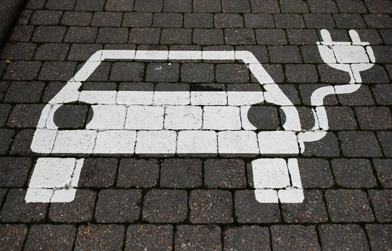 A parking sign for electric vehicles is pictured in Gruenheide