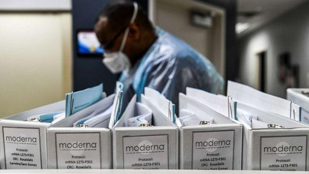 PHOTO: (FILES) In this file photo taken on August 13, 2020 Biotechnology company Moderna protocol files for COVID-19 vaccinations are kept at the Research Centers of America in Hollywood, Florida. (Chandan Khanna/AFP via Getty Images)