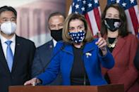 """House Speaker Nancy Pelosi, who was openly targeted by rioters and was evacuated from the Capitol on January 6, laid into the """"cowardly"""" Republican senators who voted to acquit Donald Trump"""