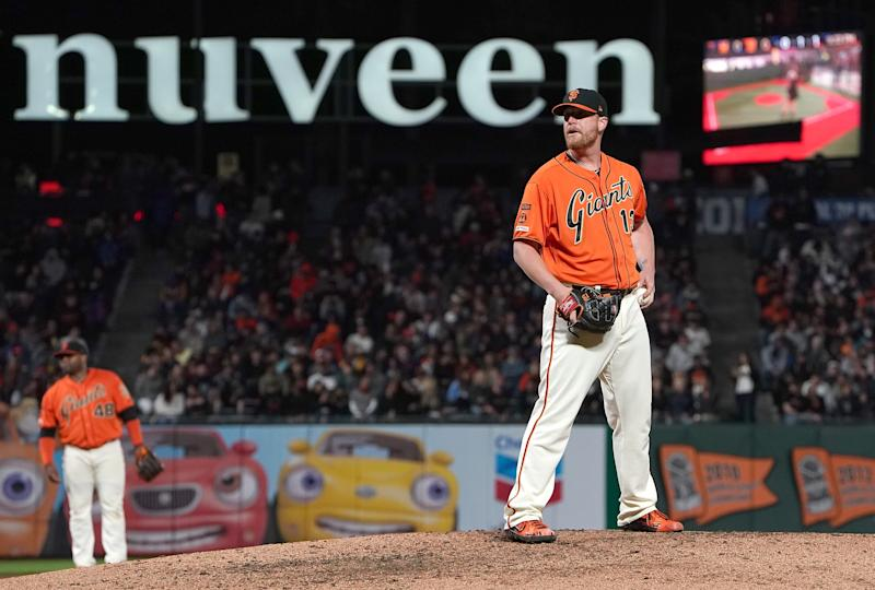 SAN FRANCISCO, CA - JULY 19: Will Smith #13 of the San Francisco Giants pitches against the New York Mets in the top of the ninth inning at Oracle Park on July 19, 2019 in San Francisco, California. (Photo by Thearon W. Henderson/Getty Images)
