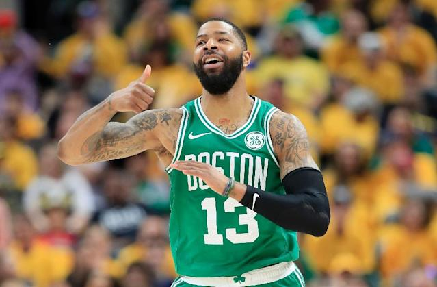 Boston's Marcus Morris celebrates as the Celtics defeated Indiana on Sunday to complete a sweep of their first-round NBA playoff series (AFP Photo/ANDY LYONS)