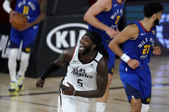 Los Angeles Clippers' Montrezl Harrell reacts after making a basket