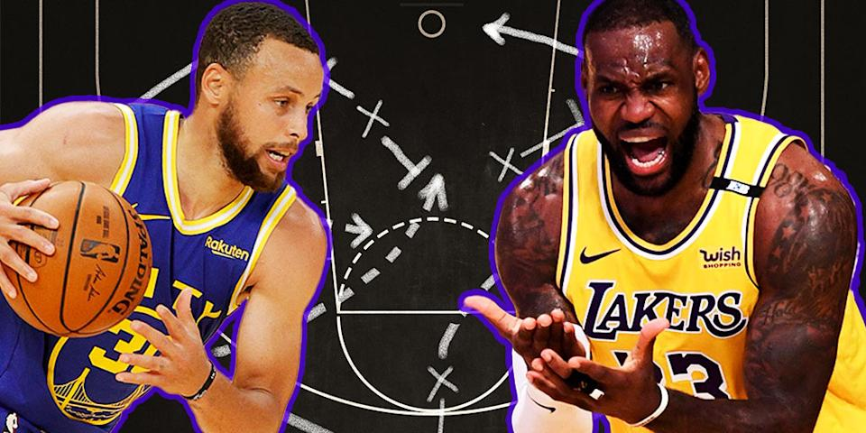 Steph Curry dribbles the ball (left) Lebron James (right) reacts to an incident