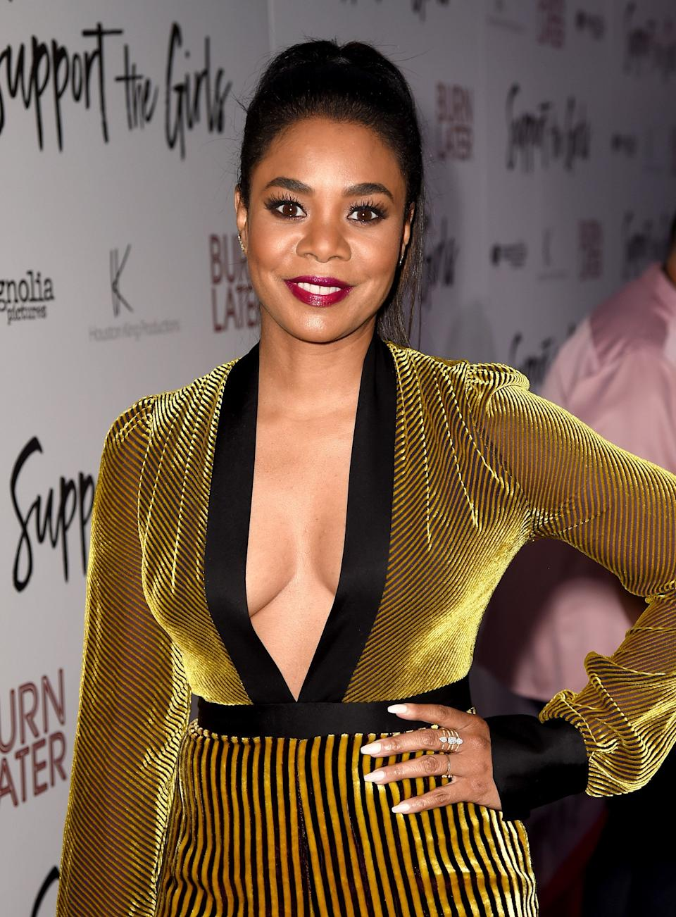 LOS ANGELES, CA - AUGUST 22:  Actress Regina Hall arrives at the premiere of Magnolia Pictures' 'Support The Girls' at the Arclight Theatre on August 22, 2018 in Los Angeles, California.  (Photo by Kevin Winter/Getty Images)