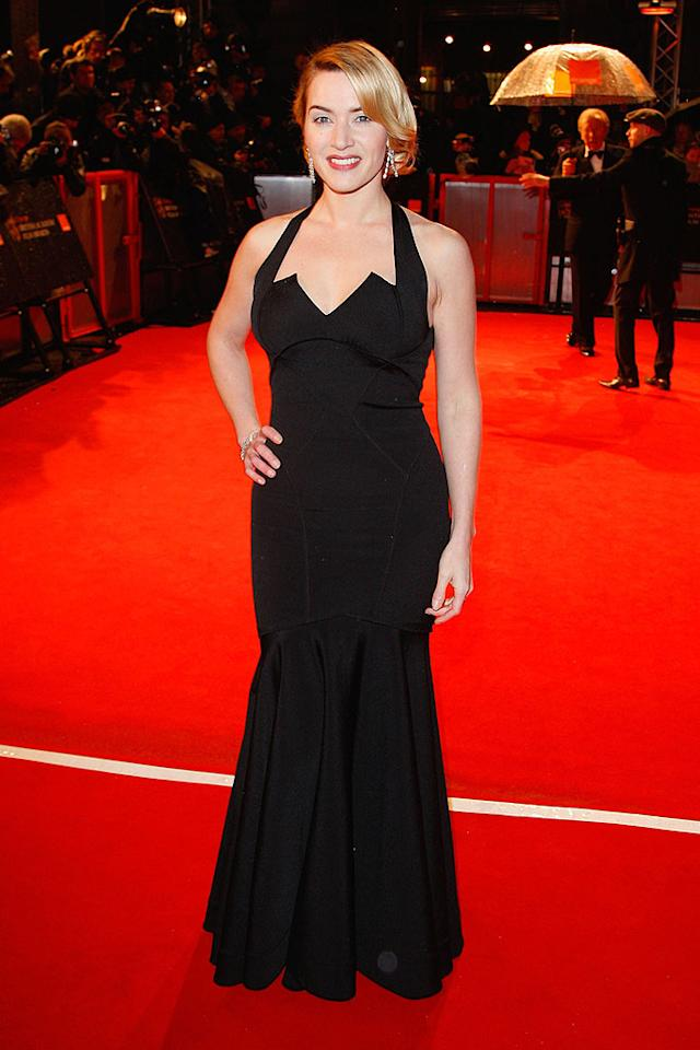 "Oscar front-runner Kate Winslet took London by storm in a sexy yet sophisticated black mermaid beauty, courtesy of Zac Posen. Jon Furniss/<a href=""http://www.wireimage.com"" target=""new"">WireImage.com</a> - February 8, 2009"