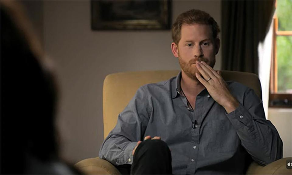 Prince Harry speaks to Oprah Winfrey (not pictured) in a scene from their Apple TV documentary, The Me You Can't See. Photo: Apple TV.