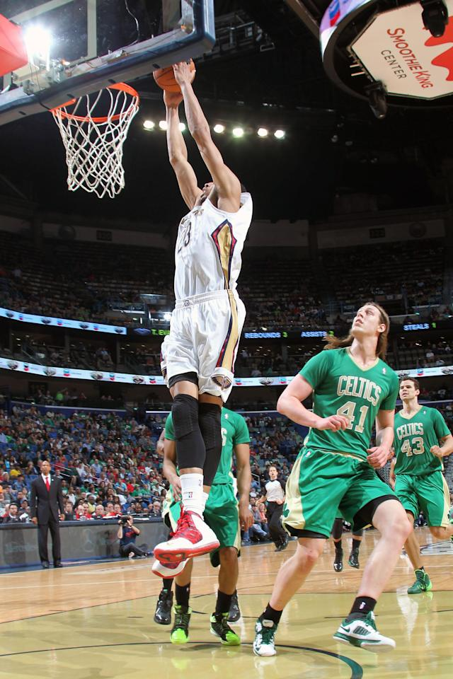 NEW ORLEANS, LA - MARCH 16: Anthony Davis #23 of the New Orleans Pelicans goes up for the dunk against the Boston Celtics during an NBA game on March 16, 2014 at the Smoothie King Center in New Orleans, Louisiana. (Photo by Layne Murdoch Jr./NBAE via Getty Images)